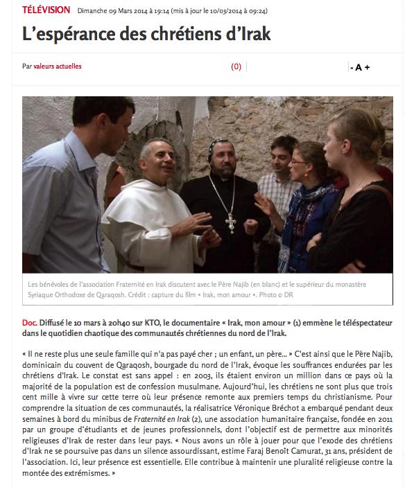 """article Valeurs Actuelles """"Irak, mon amour"""" p1"""